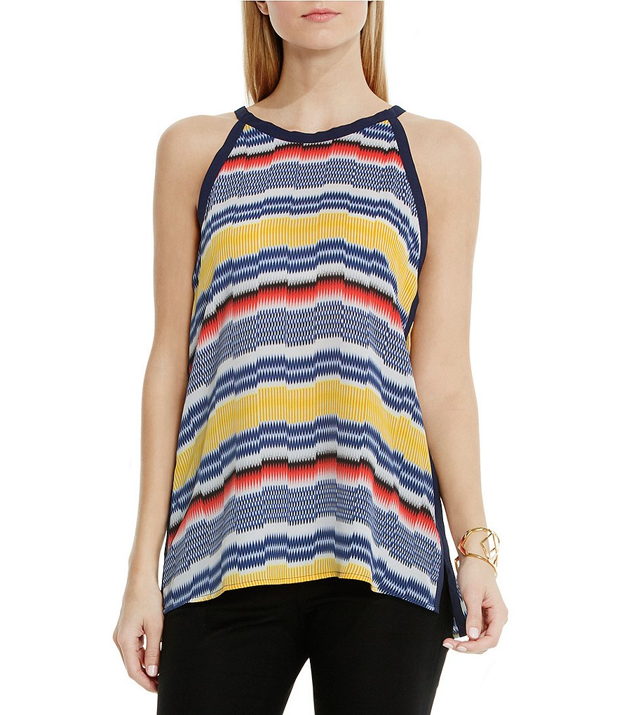 Vince Camuto Jagged Band Stripe Halter Blouse