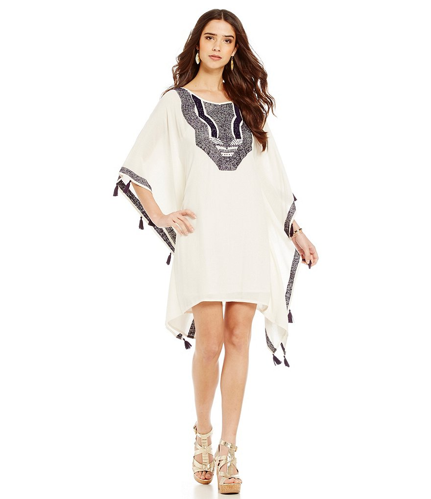 Trina Turk Dresses Luella Caftan Embroidered Tassel Dress