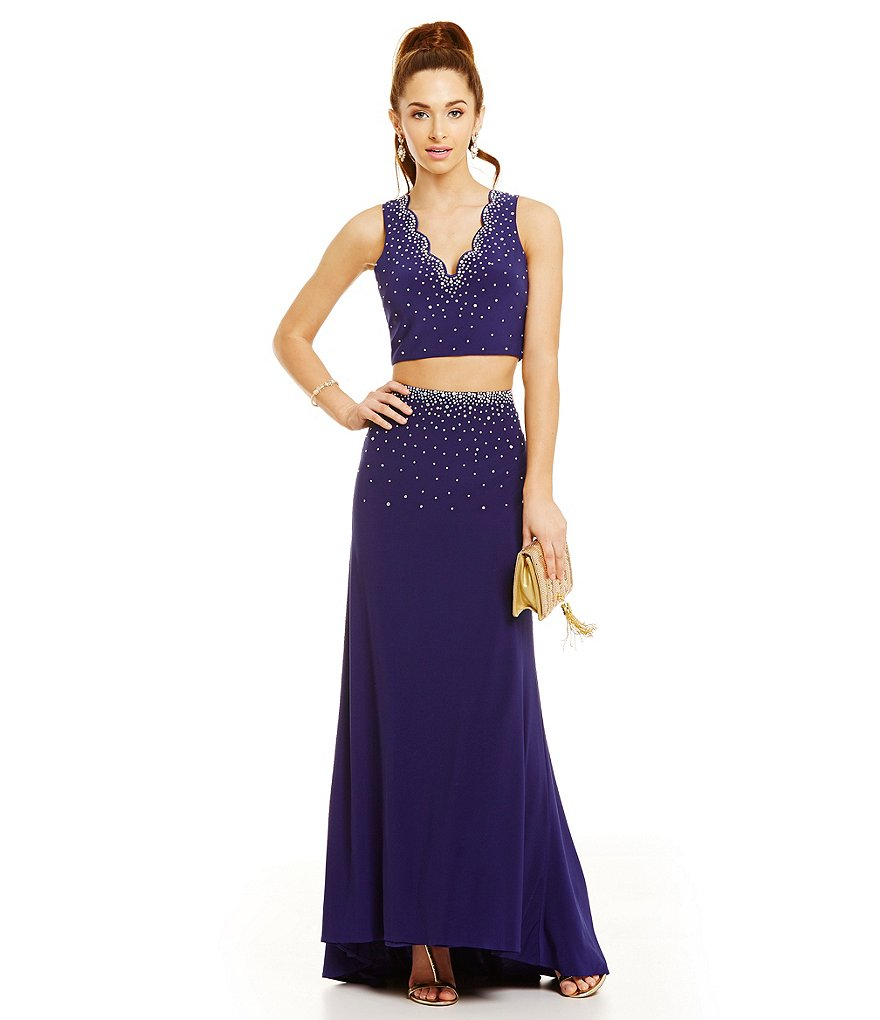 Morgan & Co. Heat Stone Embellished Crop-Top Two-Piece Gown