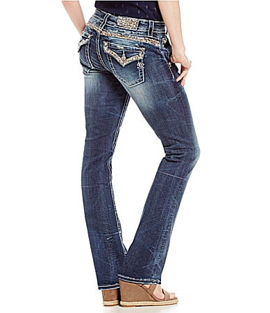 Miss Me Beaded Pocket Bootcut Jeans
