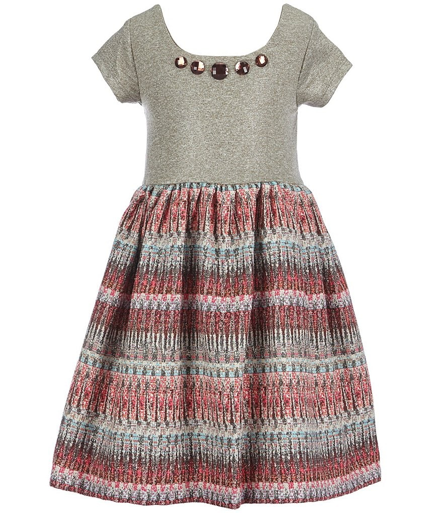 Bonnie Jean Little Girls 2T-6X Foiled Knit Dress