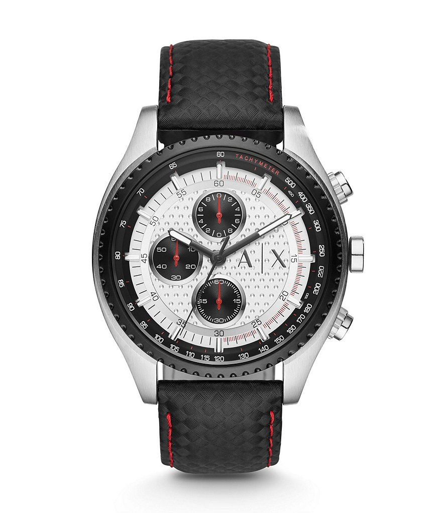 AX Armani Exchange Active Leather Strap Stainless Steel Chronograph Watch