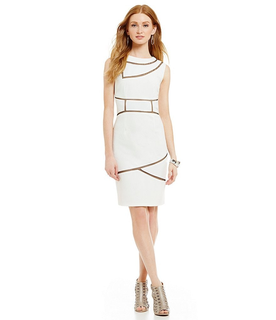 JS Collections Illusion Inset Sleeveless Sheath Dress