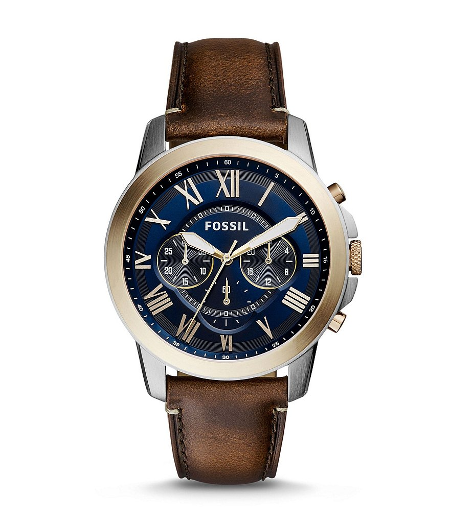 Fossil Grant Chronograph Blue Dial Leather Strap Watch