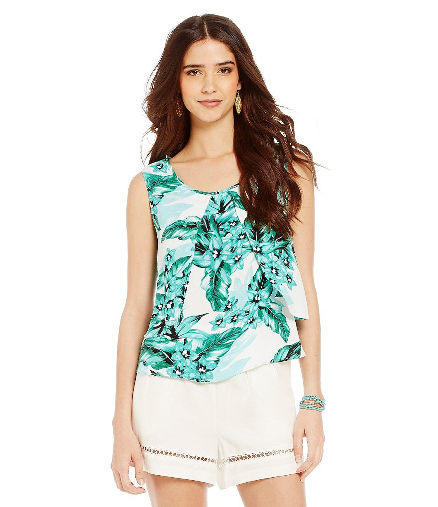 BB Dakota Barnabus Tropical Bliss Printed Layered Top