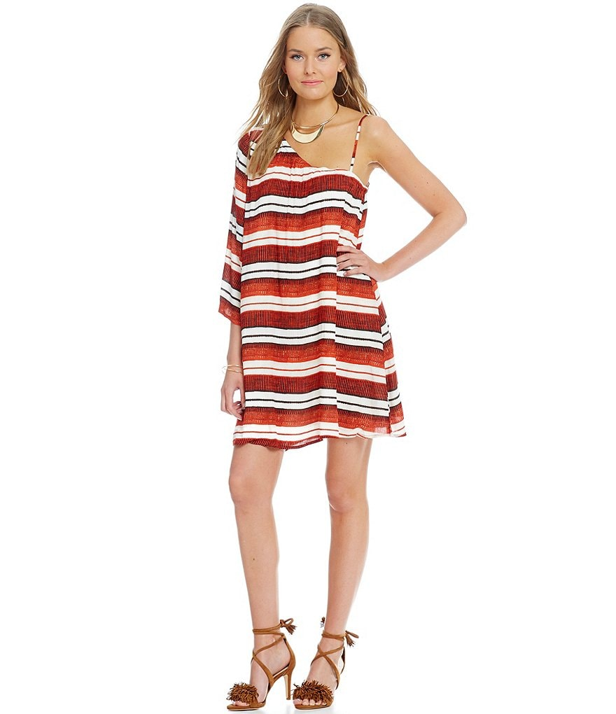 Jack by BB Dakota Bryanne One-Shoulder Stripe Beach Blanket Dress