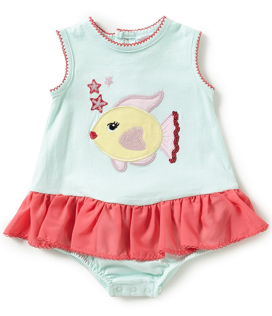 Starting Out Baby Girls Newborn-9 Months Sequin Fish-Appliqued Romper