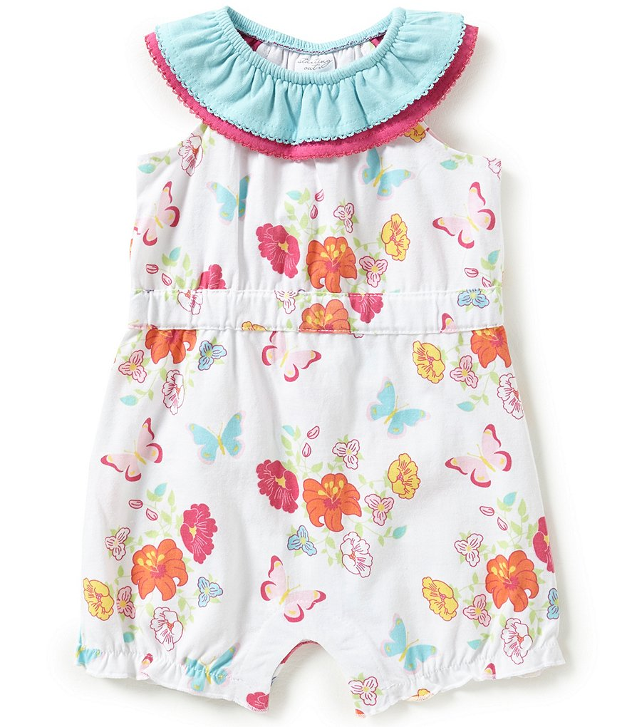 Starting Out Baby Girls Newborn-9 Months Floral & Butterfly-Print Romper