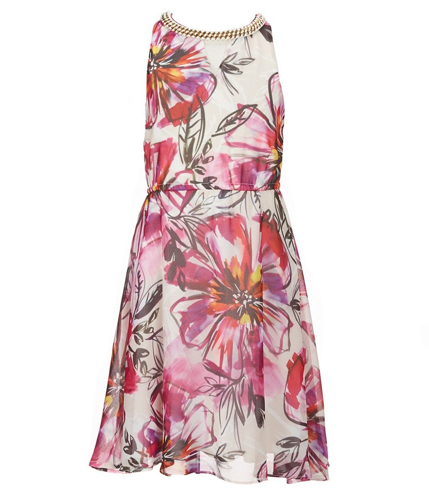Marciano Big Girls 7-16 Tulip-Printed Chiffon Dress
