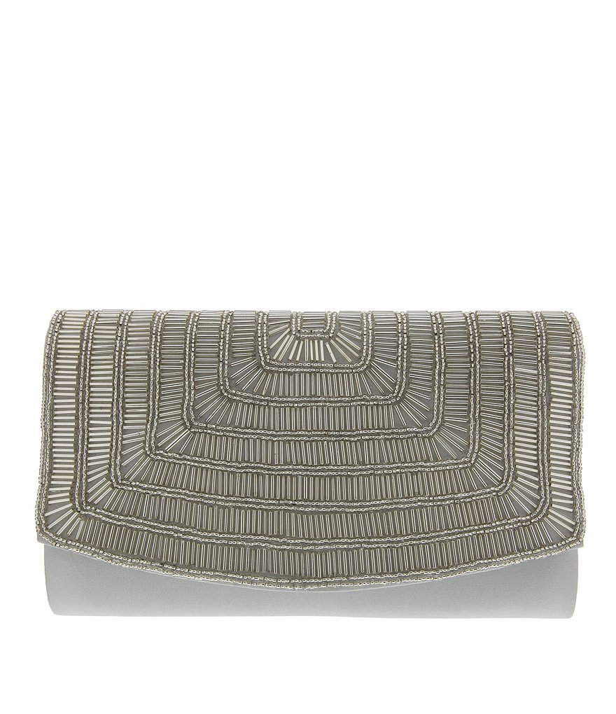 Nina Bugle Beaded Satin Clutch