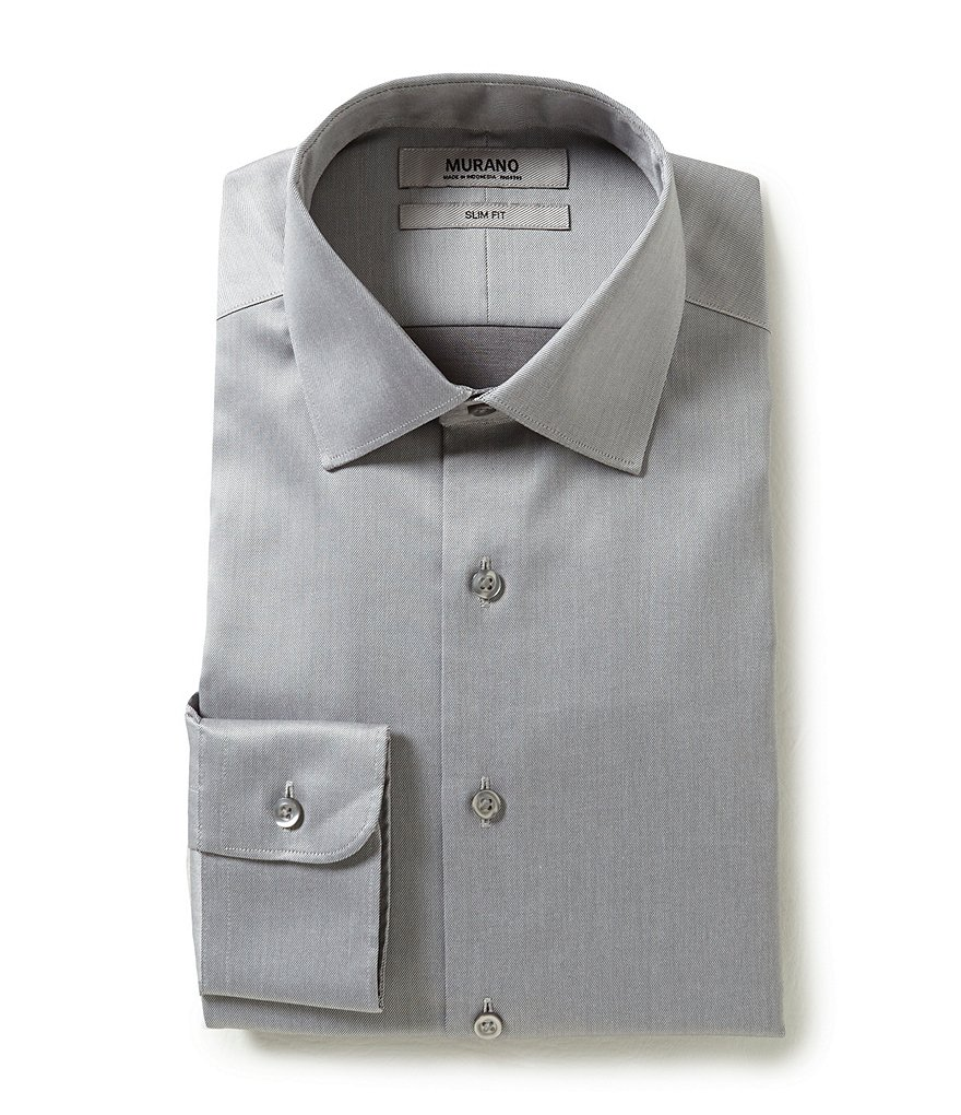 Murano Non-Iron Slim-Fit Spread-Collar Solid Twill Dress Shirt