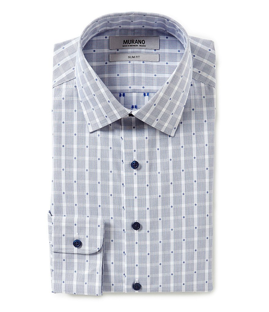 Murano Slim-Fit Spread-Collar Checked Dress Shirt