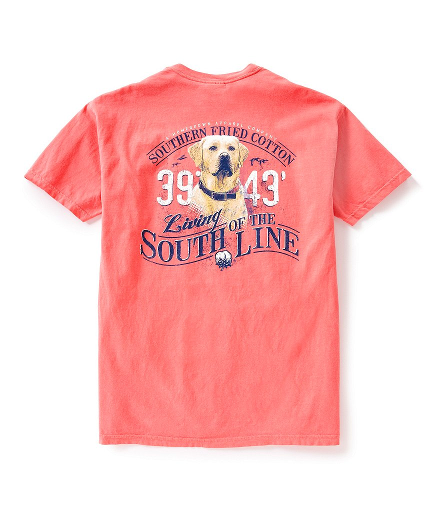 Southern Fried Cotton Mens Yellow Lab of the South Pocket Graphic Tee