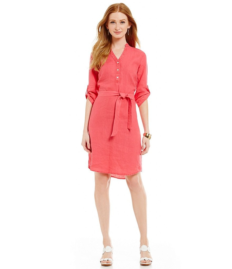 J.McLaughlin Rae Tie-Waist Linen Shirt Dress
