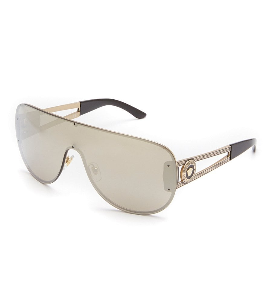 Versace Medusa Oversized Shield Flash Mirror Sunglasses