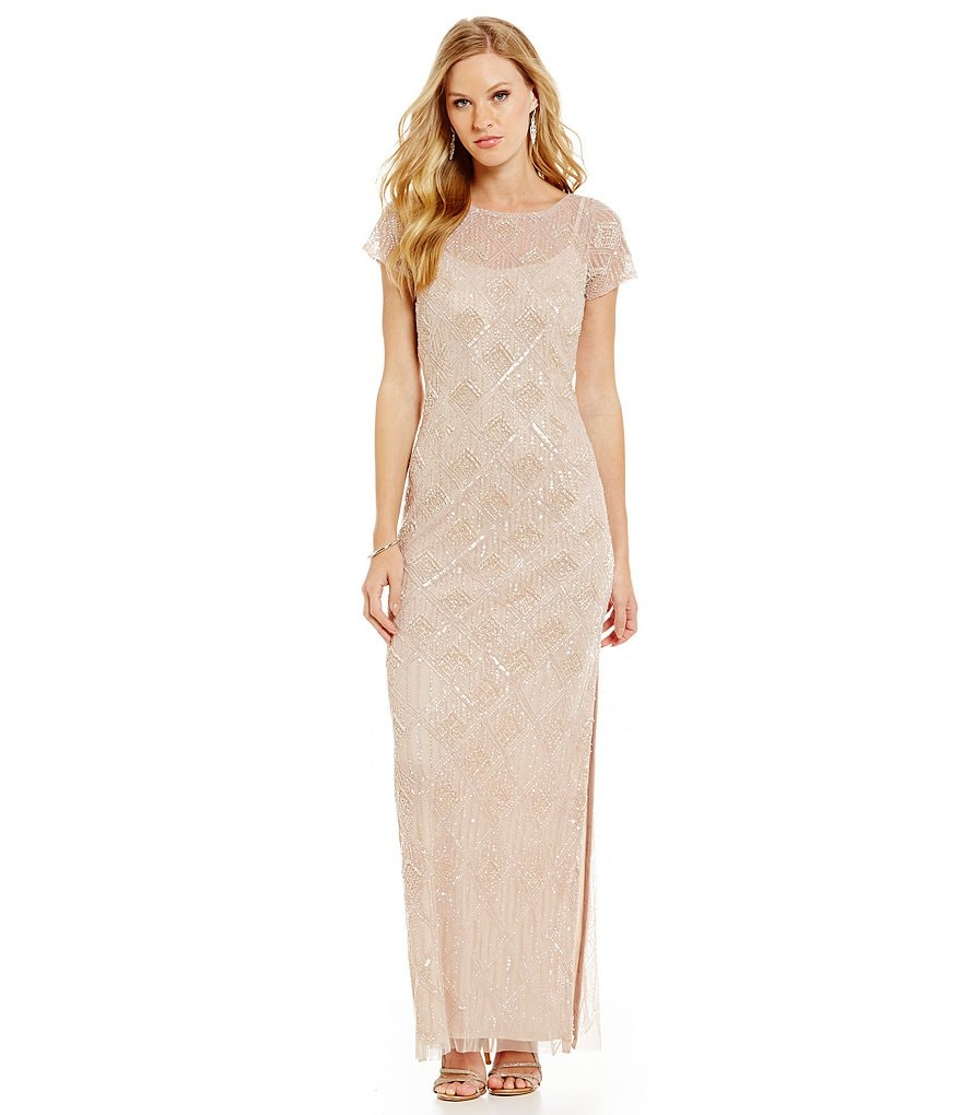 Aidan Mattox Diamond Beaded Floor-Length Gown
