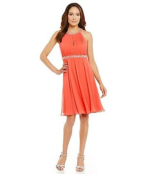 Jessica Howard Beaded Yoke Shirred Keyhole Dress