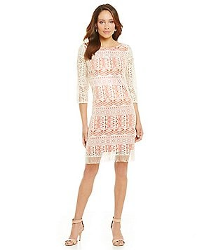 Jessica Howard Contrast Lace Illusion Sleeve Dress