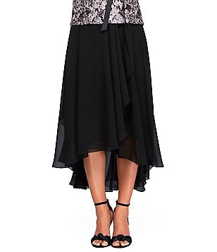 Alex Evenings Tea-Length High-Low Side Draped Skirt