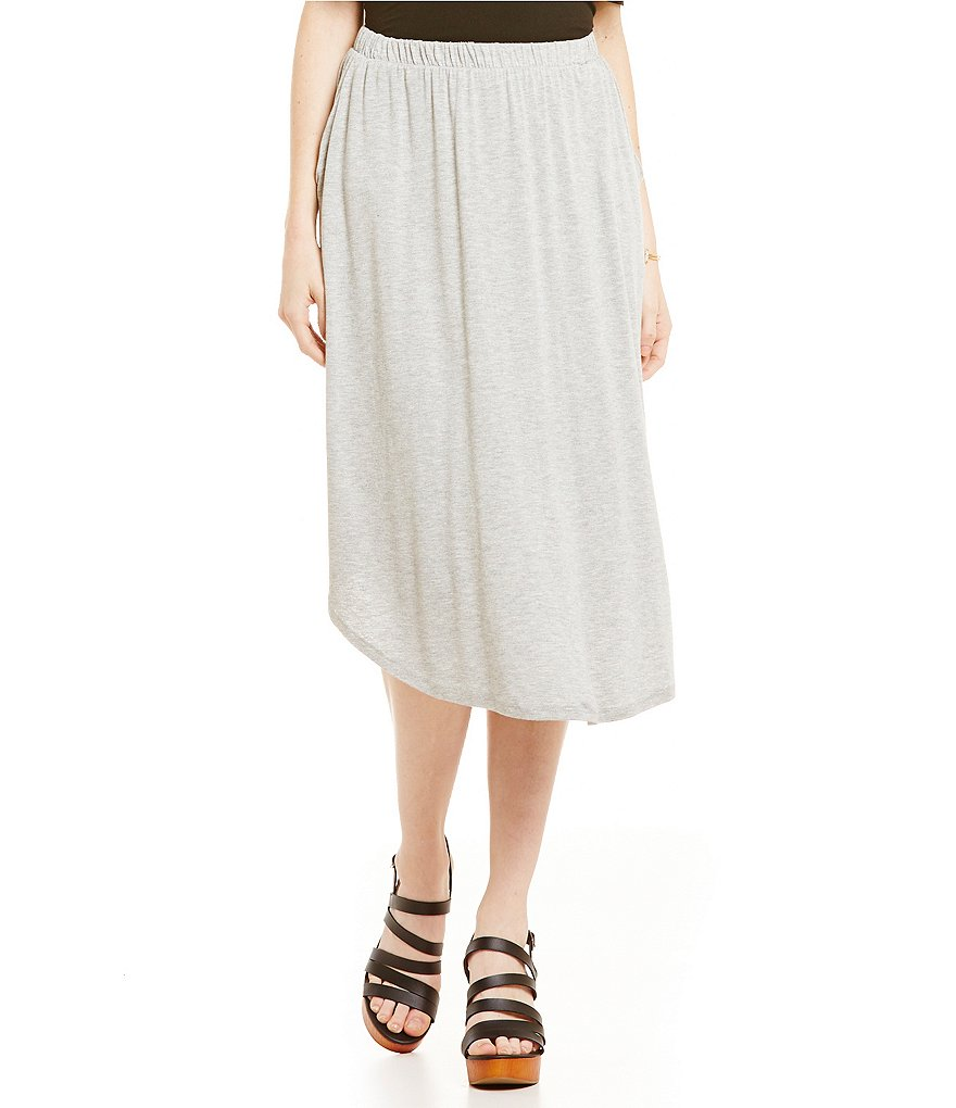 Bobeau Mid-Length Pull-On Handkerchief Hem Skirt