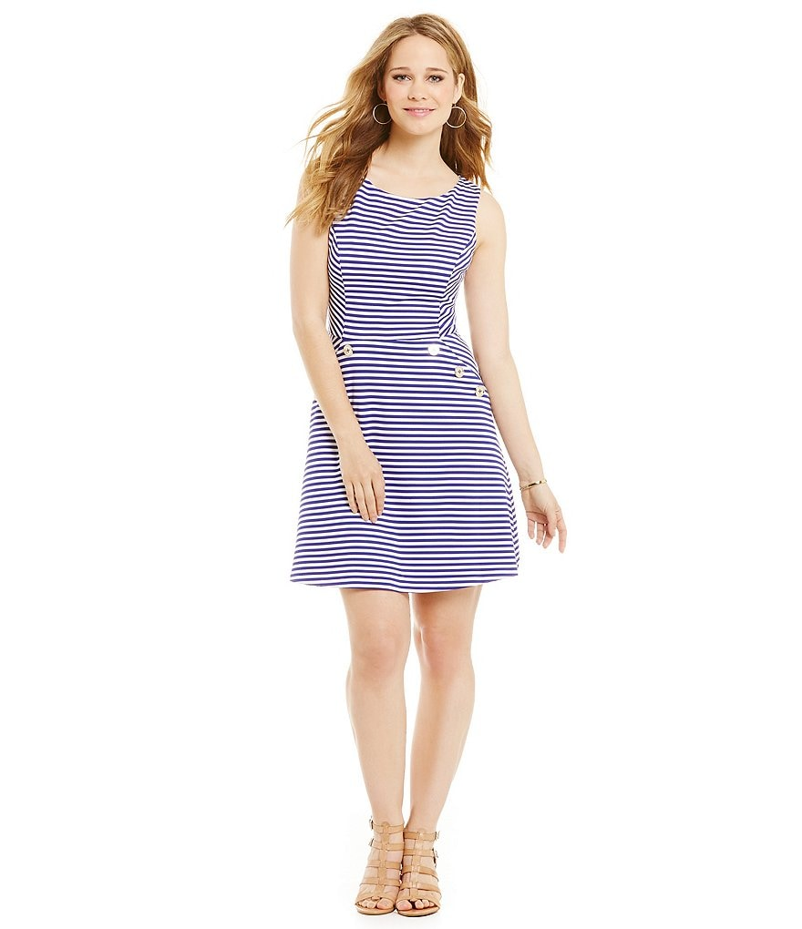 Jessica Simpson Striped Fit and Flare Dress