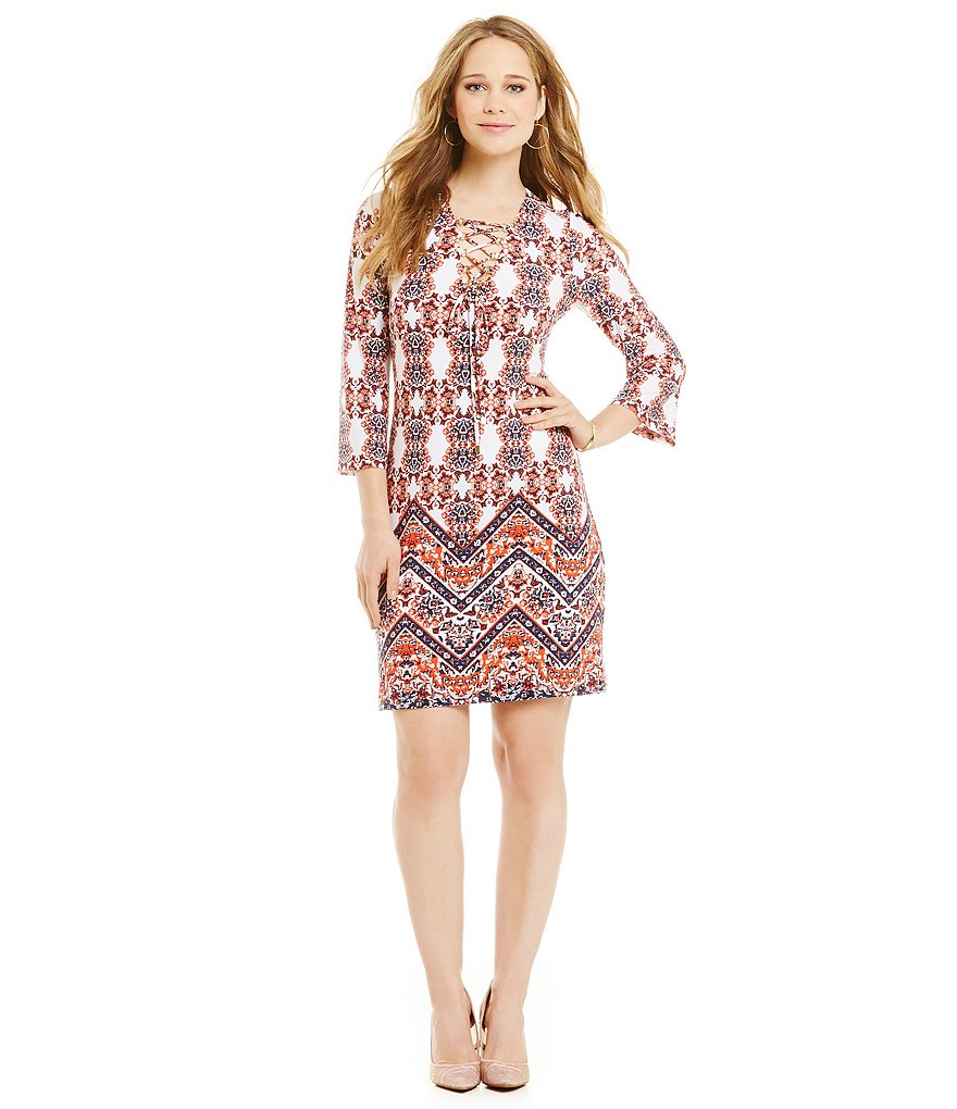 Jessica Simpson Bell Sleeve Lace Up Dress