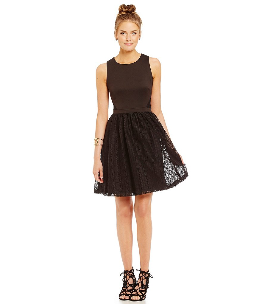 Jessica Simpson Lace Fit-and-Flare Dress