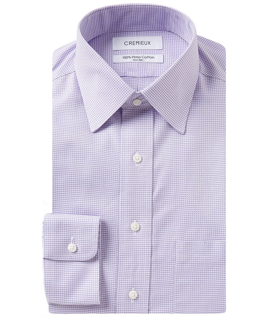 Cremieux Non-Iron Fitted Classic-Fit Spread-Collar Houndstooth Dress Shirt
