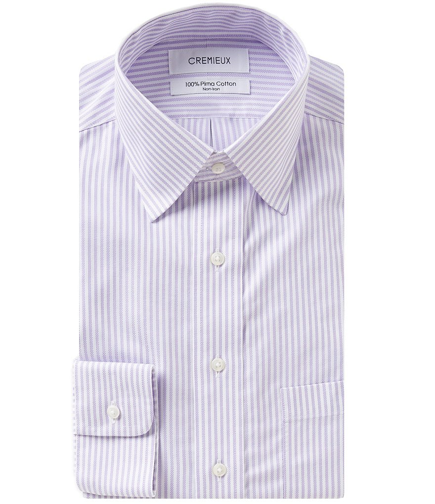 Cremieux Striped Non-Iron Fitted Classic-Fit Spread-Collar Dress Shirt