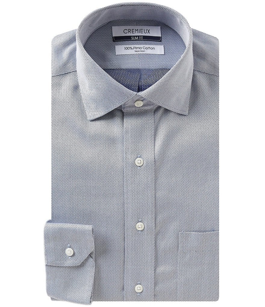 Cremieux Non-Iron Slim-Fit Spread-Collar Herringbone Dress Shirt
