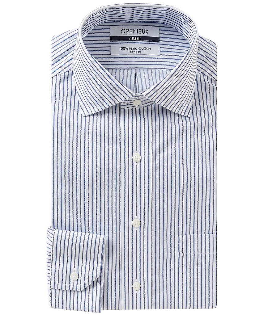 Cremieux Striped Non-Iron Slim-Fit Spread-Collar Dress Shirt