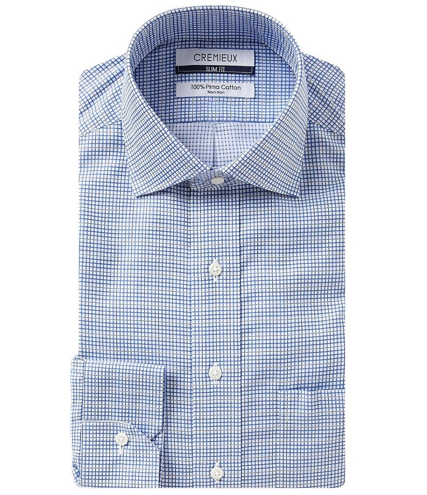 Cremieux Checked Non-Iron Slim-Fit Spread-Collar Dress Shirt