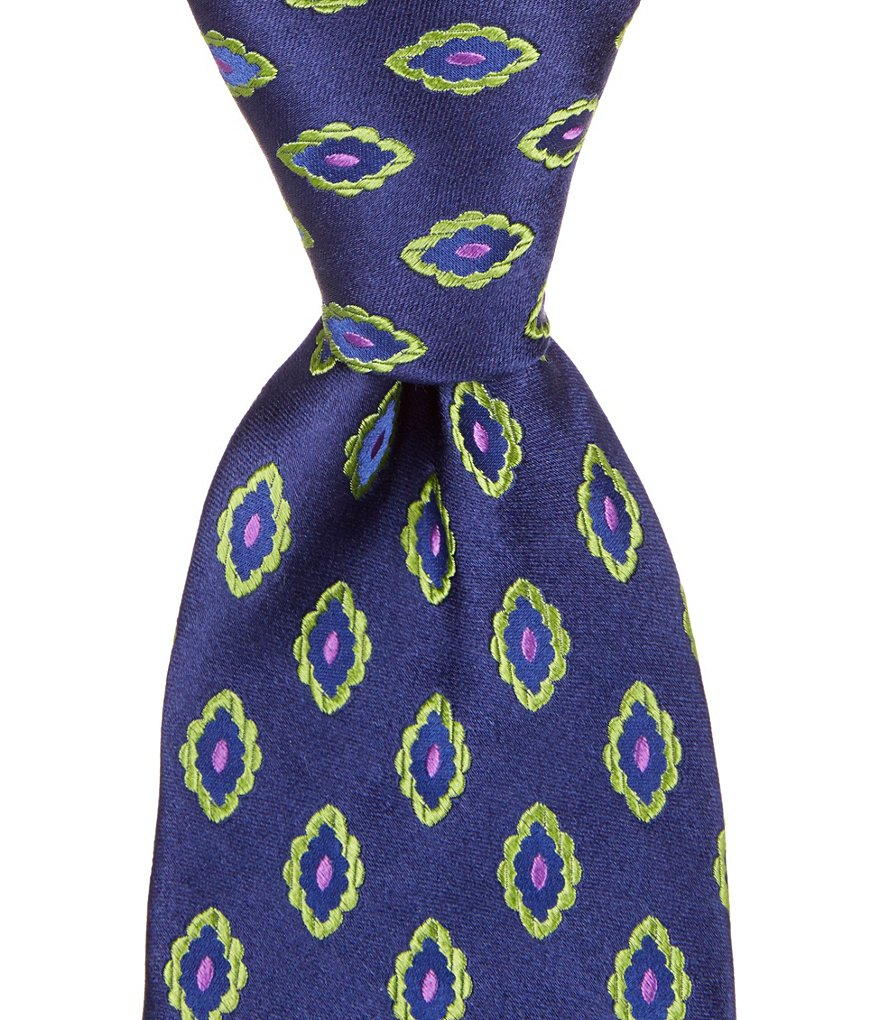 Ted Baker London Oval Flowers Traditional Silk Tie