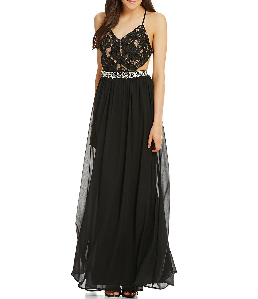 Jodi Kristopher X-Back Lace Bodice Embellished Long Dress