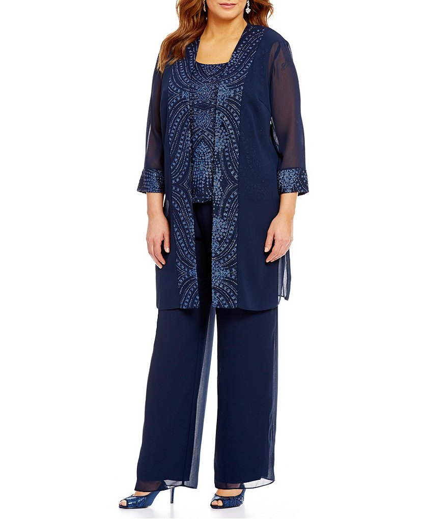 Le Bos Plus 3-Piece Glitter-Embellished Evening Pant Set