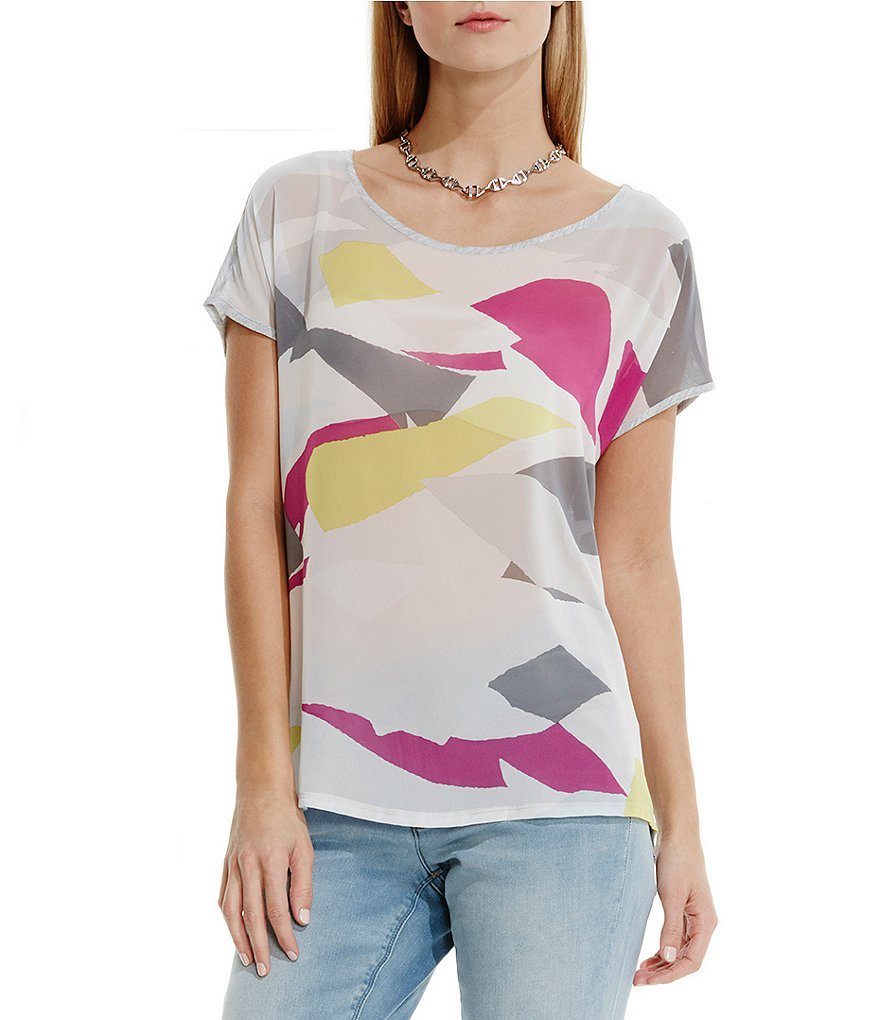 Two by Vince Camuto Abstract Cutouts Mixed Media Tee