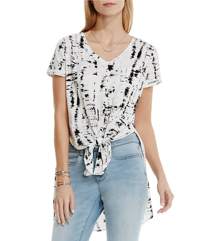 Two by Vince Camuto Fresco Textures High Low Tie Front Tee