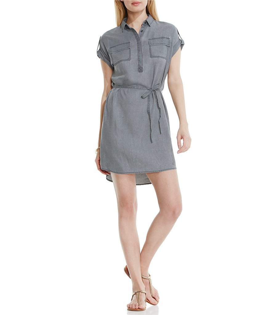 Two by Vince Camuto Pastel Fade Short Sleeve Button-down Collar Utility Shirtdress