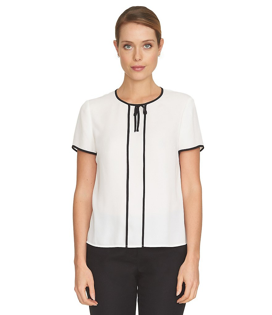 CeCe Crepe Tie Contrast Piping Blouse