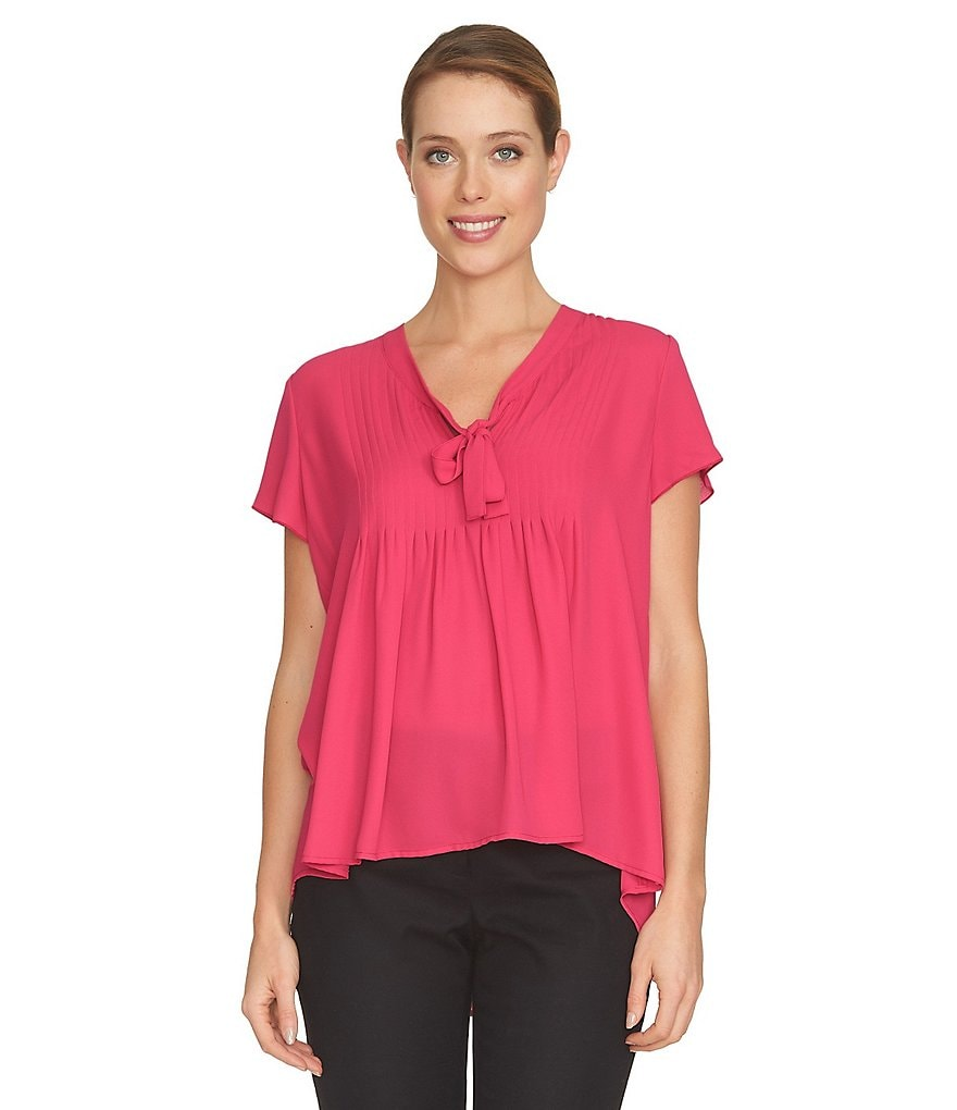 CeCe Pleated Short Sleeve Blouse