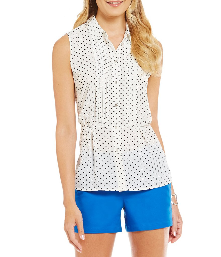 CeCe Disco Dots Sleeveless Collared Blouse