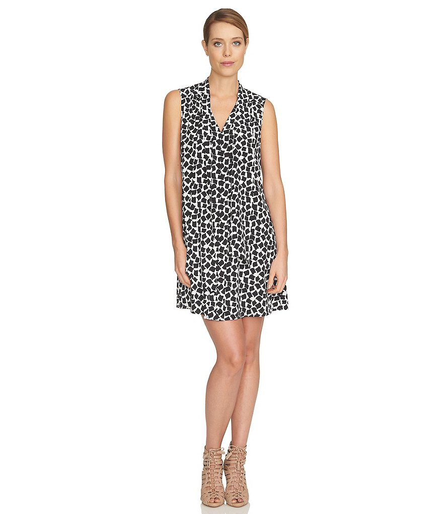 CeCe Abstract Confetti Tie Front Dress