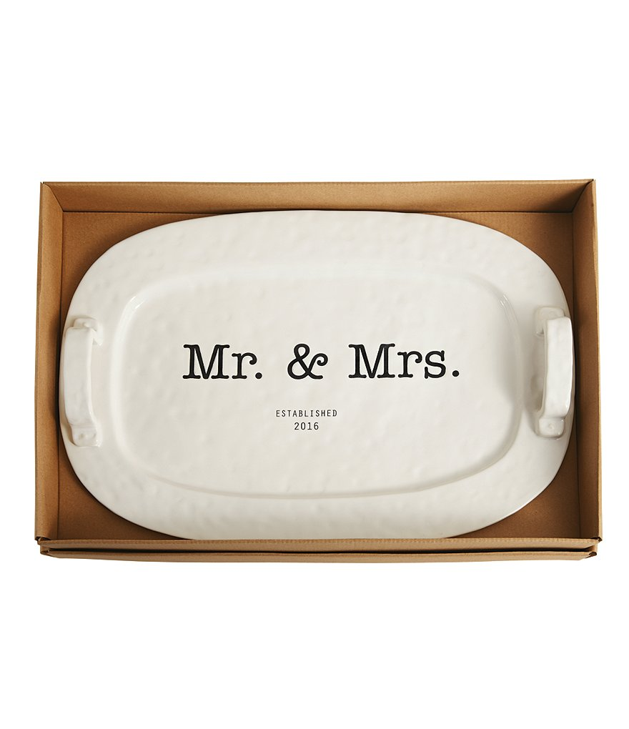 Mud Pie Wedding Collection 2016 Mr. & Mrs. Ceramic Handled Platter