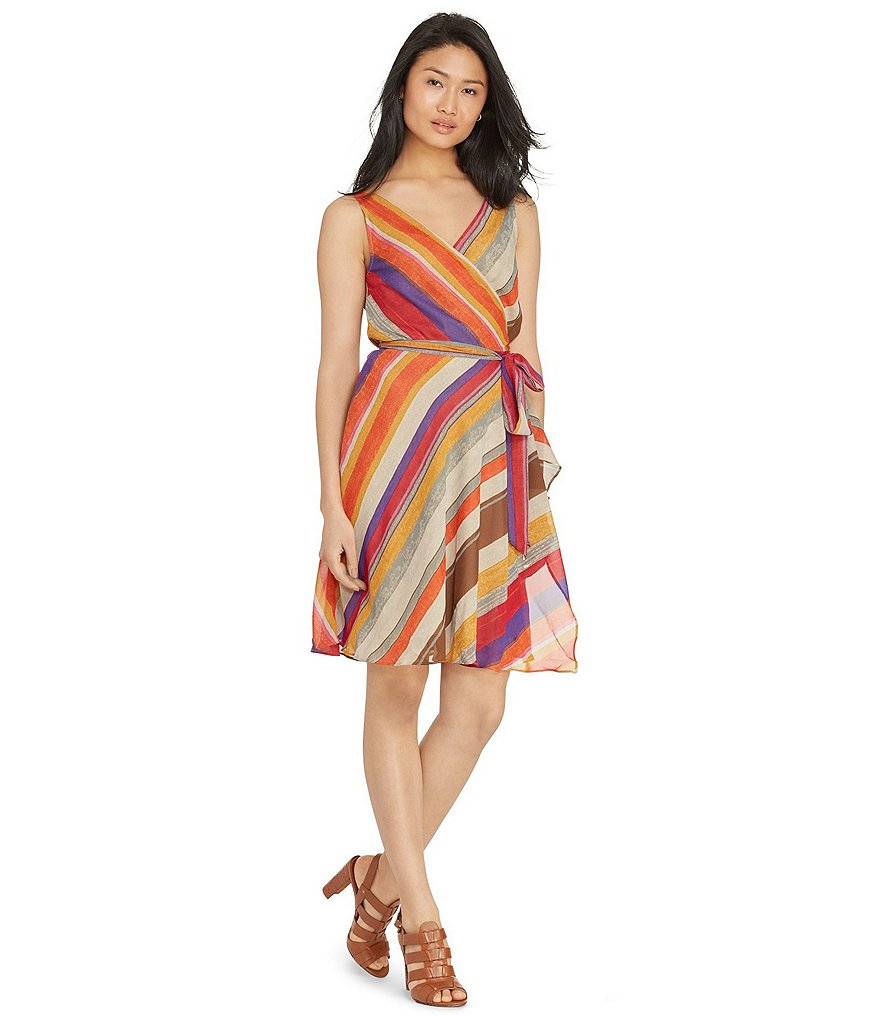Lauren Ralph Lauren Striped Georgette Wrap Dress
