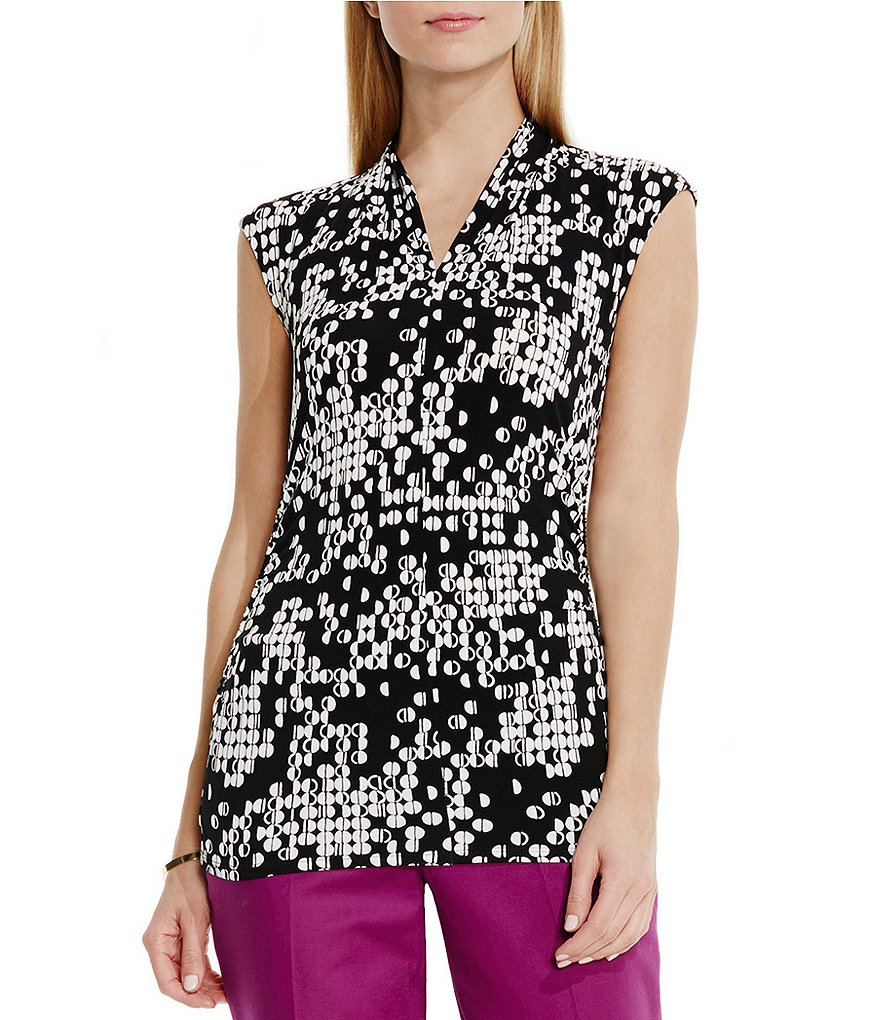 Vince Camuto Dotted Cityscape Pleat Top