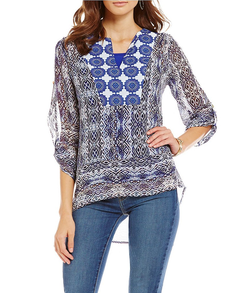 Figueroa & Flower Devon Printed Woven Blouse