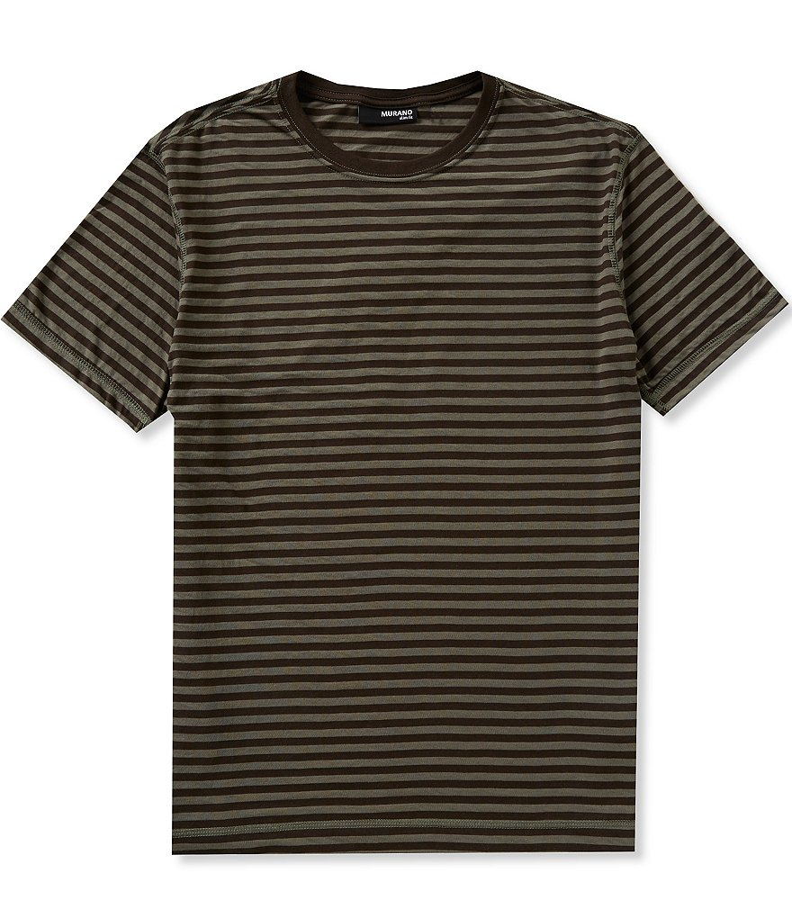 Murano Short-Sleeve Slim-Fit Horizontal Striped Crewneck Tee