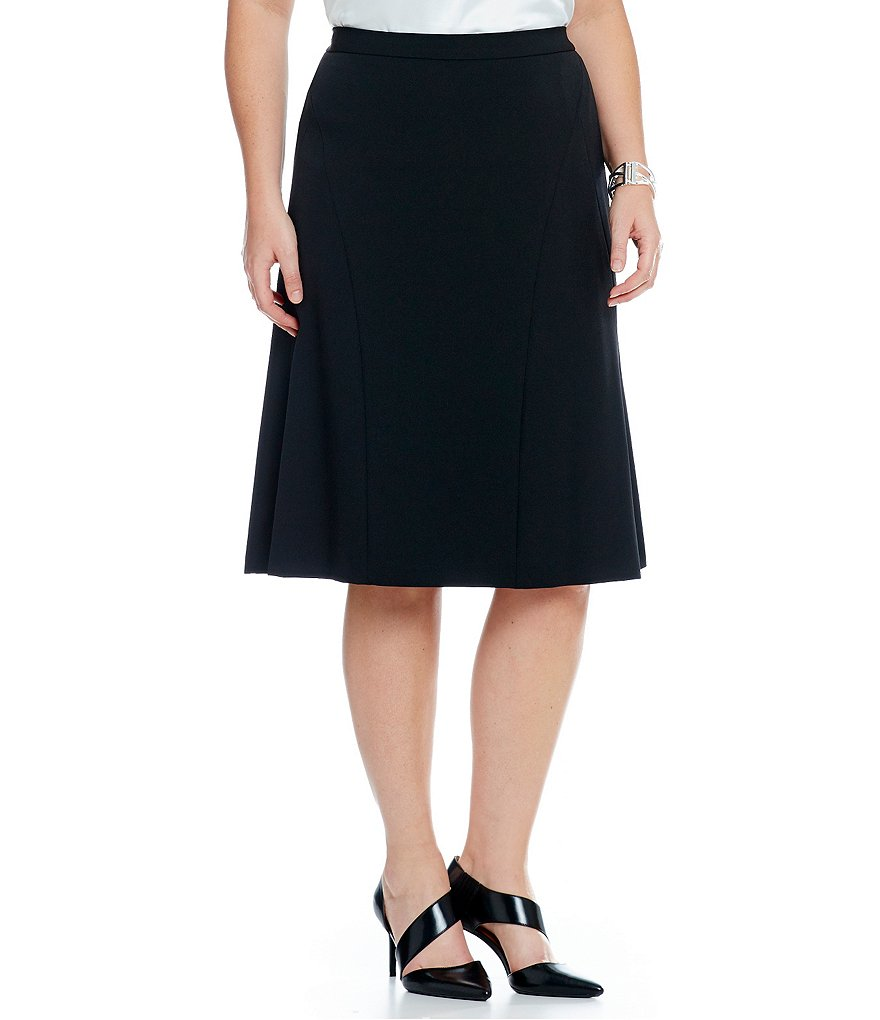 Kasper Plus Stretch Crepe Flounce Skirt