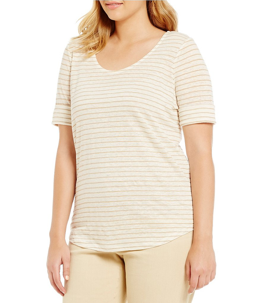 Lauren Ralph Lauren Plus Striped Linen Tee
