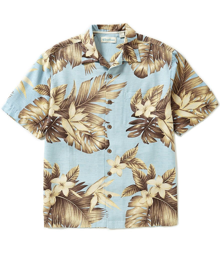 Caribbean Short-Sleeve Silk Floral Leaf Print Camp Shirt